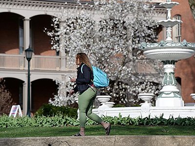 shippensburg_university_student_and_fountain